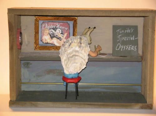 OYSTER BAR Shadow box Unique! homage to Lewis Carroll | eBay