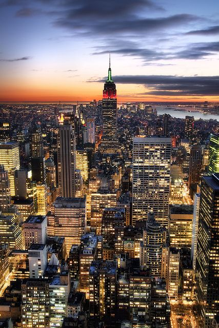 'Downtown is where it's at' United States, New York, Empire State Building, View From the Top of the Rock by WanderingtheWorld (www.LostManProject.com), via Flickr