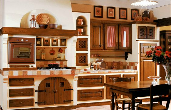 CUCINA RUSTICA CON ANTE IN LEGNO - Arredamento Shabby | kuchyně ...