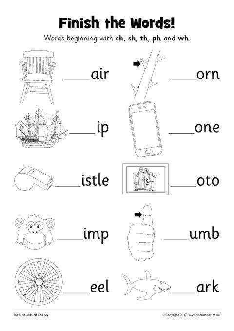 Finish The Words Worksheets Ch Sh Th Ph And Wh Sb Phonics Worksheets Kindergarten Worksheets Printable Phonics