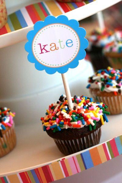 cupcakes dipped in sprinkles