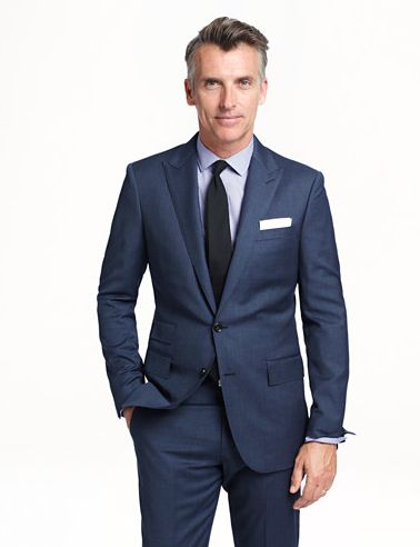 blue suit. J Crew offers nice men's suits for wedding day