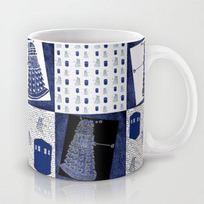 """Denim"" Robot + Police Box Quilt Block on Black Mug by Bohemian Bear by Kristi Duggins | Society6"
