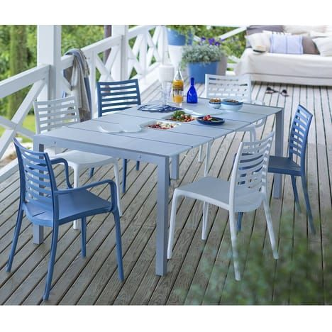 Table De Jardin 190x100x74cm Resine Blanc Bleu Sunday Grosfillex