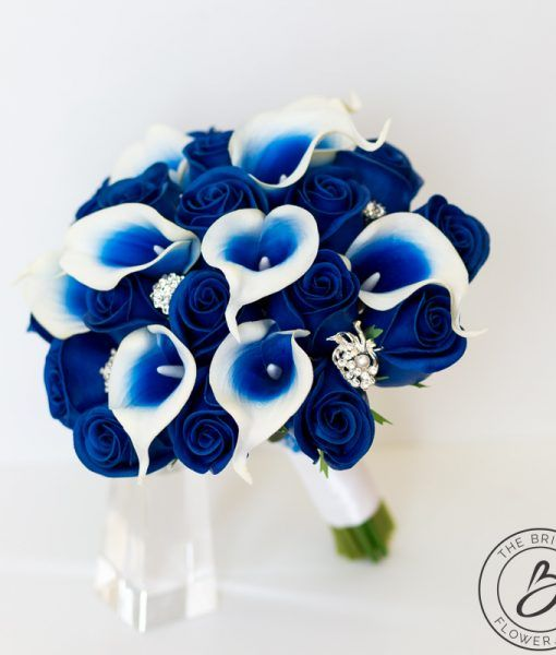 Royal Blue Rose And Calla Lily Bouquet With Brooch Gems The Bridal Flower Silk And Real Touch Wedding Bouquets Blue Wedding Decorations Blue Wedding Bouquet Royal Blue Wedding