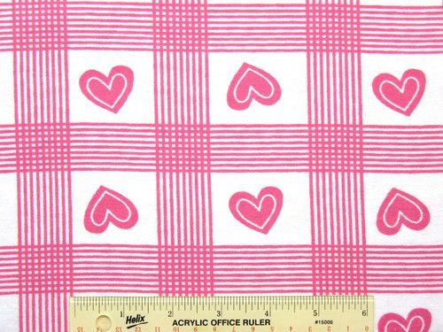 Hot Pink Hearts & Squares on White Valentine Cotton Flannel Fabric