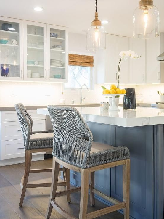 Gray Kitchen Island Features Gray Woven Counter Stools From