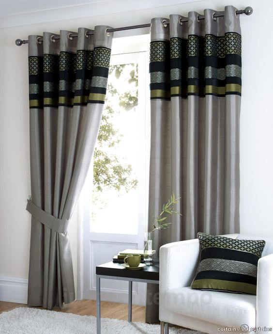 Green Curtains black green curtains : Black Silver Green Grey Lime Luxury Eyelet Curtain - Curtains ...