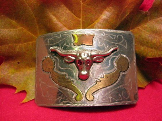 OLD COIN SILVER Long Horn Steer RED EYES Hand Engraved Belt Buckle MAKE OFFER