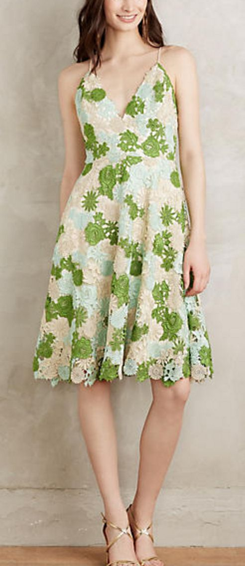Green, Peach, and Sky Blue Flower Lace A-Line Dress