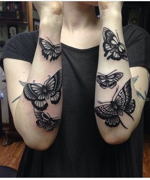 14 Of The Bold Dark Butterfly Tattoos On Arm Butterfly Tattoo Butterfly Tattoos On Arm Sleeve Tattoos For Women