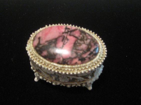 Vintage Florenza Trinket Box  Pink Black Hinged Ceramic by DOLL007