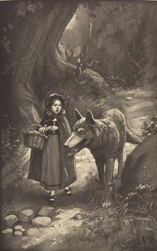 Little Red Riding Hood  by Peter Newell (1862 -1924)  He asked her politely where she was going.: