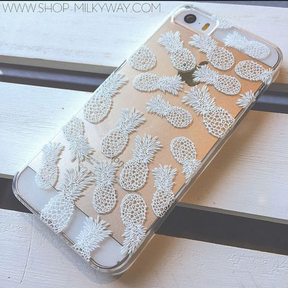 Clear Plastic Case Cover for iPhone 5C - Henna White Pineapple Overload summer psych fruit love hipster: