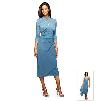 Product alex evenings jacquard tea length jacket dress for Elder beerman wedding dresses