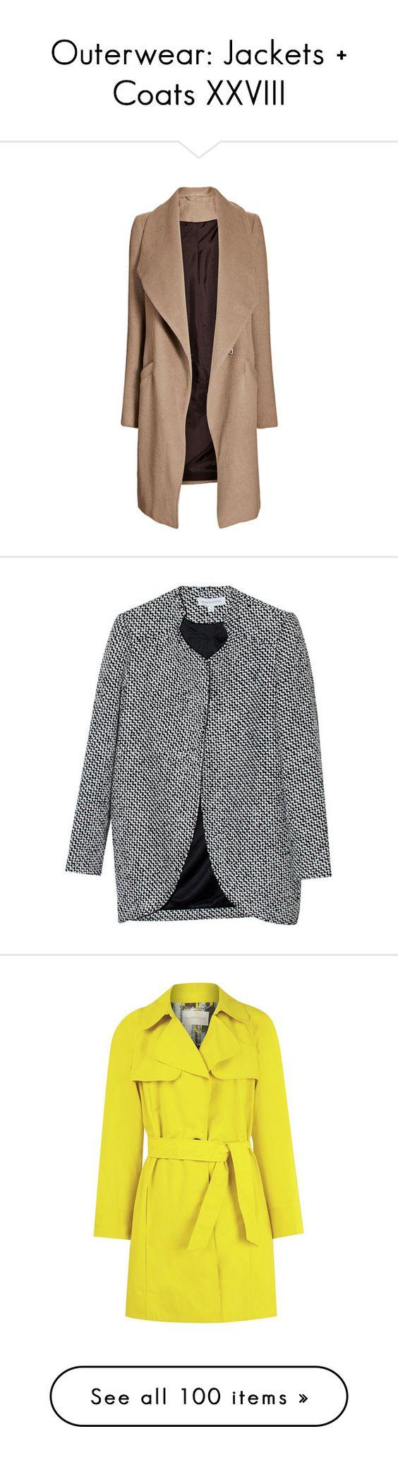 """Outerwear: Jackets + Coats XXVIII"" by jay-to-the-kay ❤ liked on Polyvore featuring blazers, jackets, outerwear, coats, coats & jackets, tops, beige coat, camel waterfall coat, women coats e camel coat"