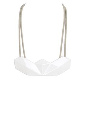 enamelled ceramic bib necklace with finely carved reliefs.  designed with the 3D printing technology.