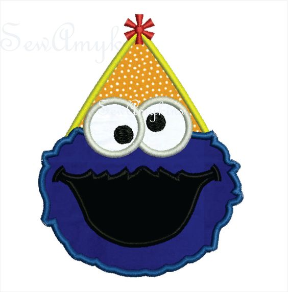 Cookie Monster applique Birthday Hat face party embroidery digitized design 2 sizes. $2.95, via Etsy.