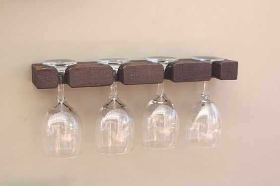 Wine Glass Rack - 4 Glass Holder Storage Display Burned Barn Color - Home Decor Creations