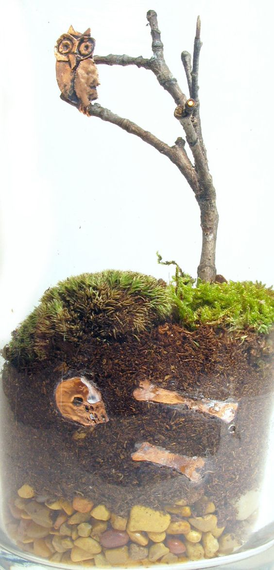 Owl Bones and Graveyard terrarium by Rachelthebish on Etsy, $35.00