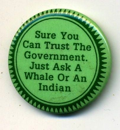 """Trust the Government - vintage 1.25"""" pin"""