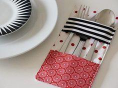 DIY-Anleitung: Bestecktasche für Tischdeko nähen / DIY-tutorial: sewing cutlery pourch as table decor via DaWanda.com