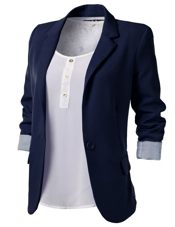 Navy Blue Blazer Women B00BYH9QM6 | Shopping is a girl's therapy