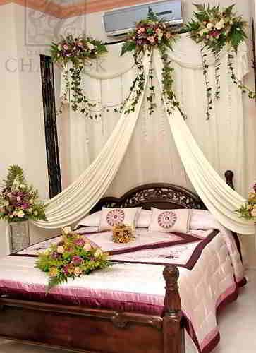 Wedding bedroom indian weddings and indian on pinterest for Asian wedding bed decoration ideas