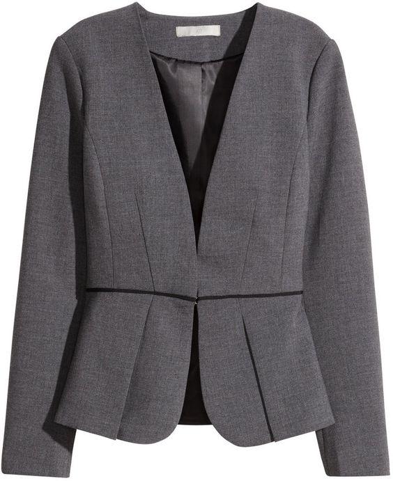 H&M - Peplum Jacket - Dark gray melange - Ladies