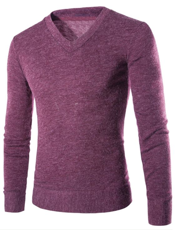 XQS Mens V Neck Long Sleeve Pullover Sweater Knit Relaxed Fit Purple L