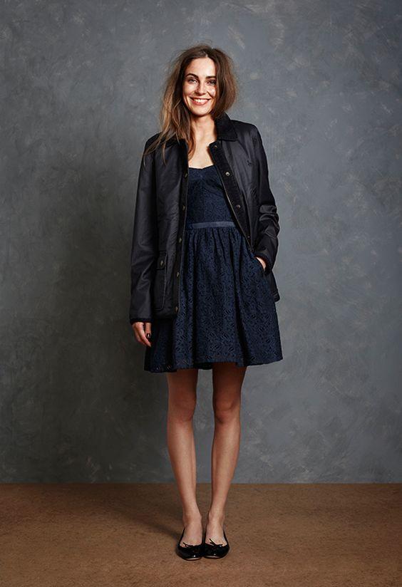Jack Wills lookbook via Seventeenth &amp Irving - navy dress   black