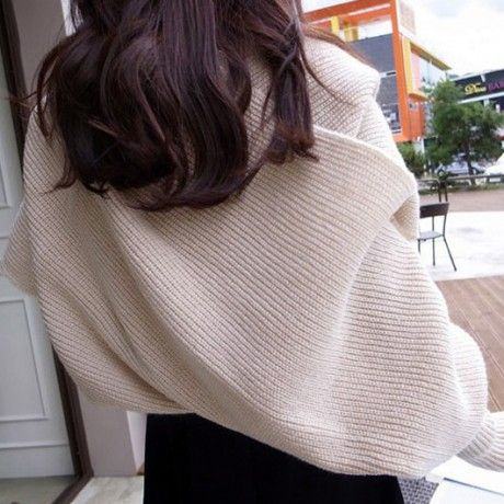 Solid Scarf With Sleeve Crochet Knit Long Soft Wrap Shawl Scarves