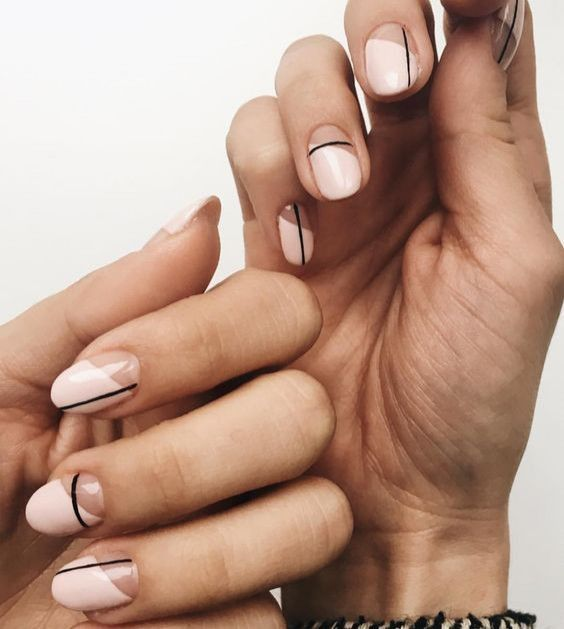 Abstract But Minimal Nail Art With Images Lines On Nails
