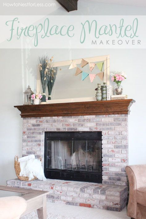Fireplace Mantel Makeover Fireplaces Whitewashed Brick