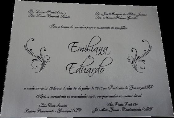 Convites convites de casamento com papel ecológico casamento