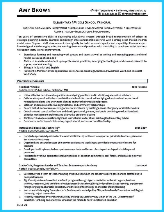 Awesome An Effective Sample Of Assistant Principal Resume Assistant Principal School Leadership Middle School Principal
