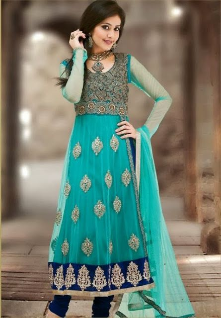 Z Fashion Trend: BLUE NET EMBROIDERED PARTY WEAR DESIGNER SUIT