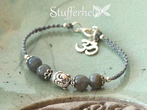 Kleines Makramee Armband, Buddha, Labradorit, silberfarbe