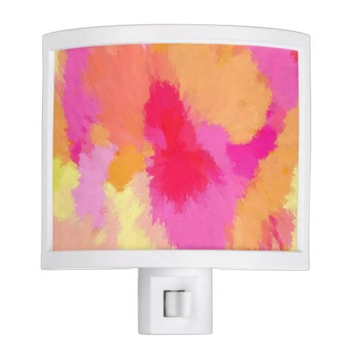 Pink orange and yellow night light for babies room for Pink and orange bathroom ideas