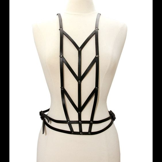 Black Faux Leather Body Strap W/ Hook Closure Black body strap with hook closure.  Size : Adjustable Jewelry
