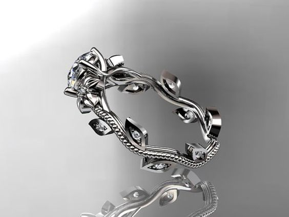 Ahh, I want it, I want this one...  14kt  white  gold diamond leaf and vine wedding by anjaysdesigns, $975.00