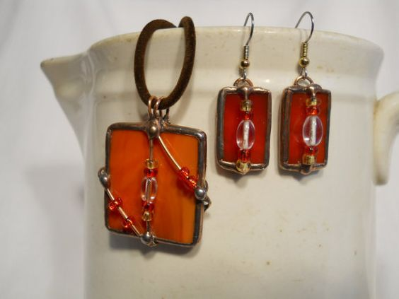 Pendant and Earring Set Orange Glass by StewArtStuff on Etsy, $24.95