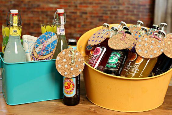Decorated Cork Coasters (http://blog.hgtv.com/design/2014/07/29/weekday-crafternoon-diy-decorated-cork-coasters/?soc=pinterest)