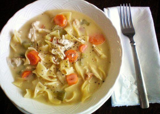 Crock pot Creamy Chicken Noodle Soup. SO GOOD!