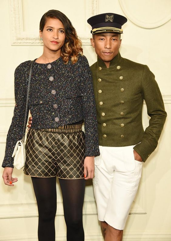 Pharrell Williams and his wife Helen Lasichanh at Chanel's New York presentation.