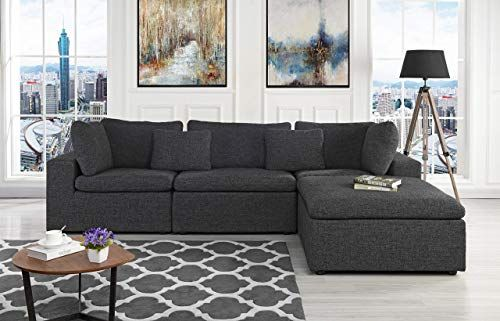Buy Large Linen Fabric Sectional Sofa L Shape Couch Wide Chaise Dark Grey Online Greattopfurniture Fabric Sectional Sofas L Shaped Couch Modern Sofa Living Room