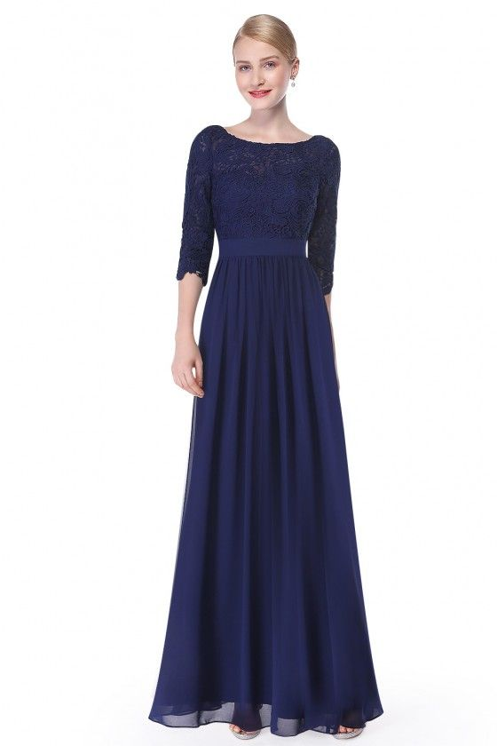 Elegant Navy Blue 3 4 Sleeve Lace Long Evening Dress Evening Dresses Long Long Sleeve Bridesmaid Dress Lace Dress With Sleeves