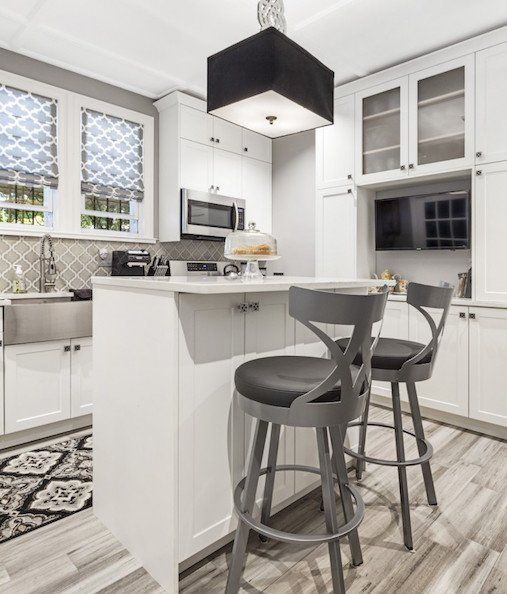 White And Gray Kitchen With Breakfast Bar And Tv Kitchen Remodel Small Kitchen Design Small Kitchen Remodel