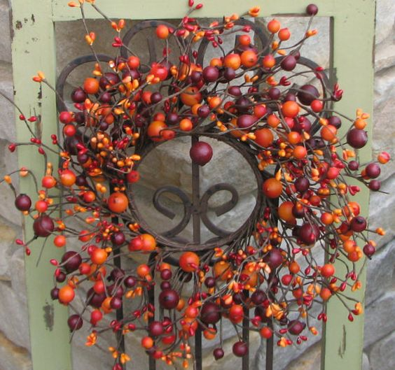Berry Wreaths, Mini Berry Wreaths, Wedding Wreaths, CandleSticks, Decorative Wreaths, Wedding Decor, Fall Wreaths, Harvest Wreaths, Berries  All manufactured but could go on Rustic