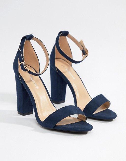 Navy block heel sandals, Navy block
